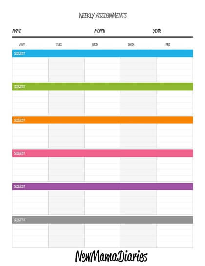 Weekly Assignments Printable-page-001