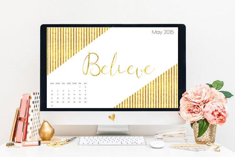 May Freebie | Gold Foil Believe Calendar Wallpaper | BlissandFaith.com