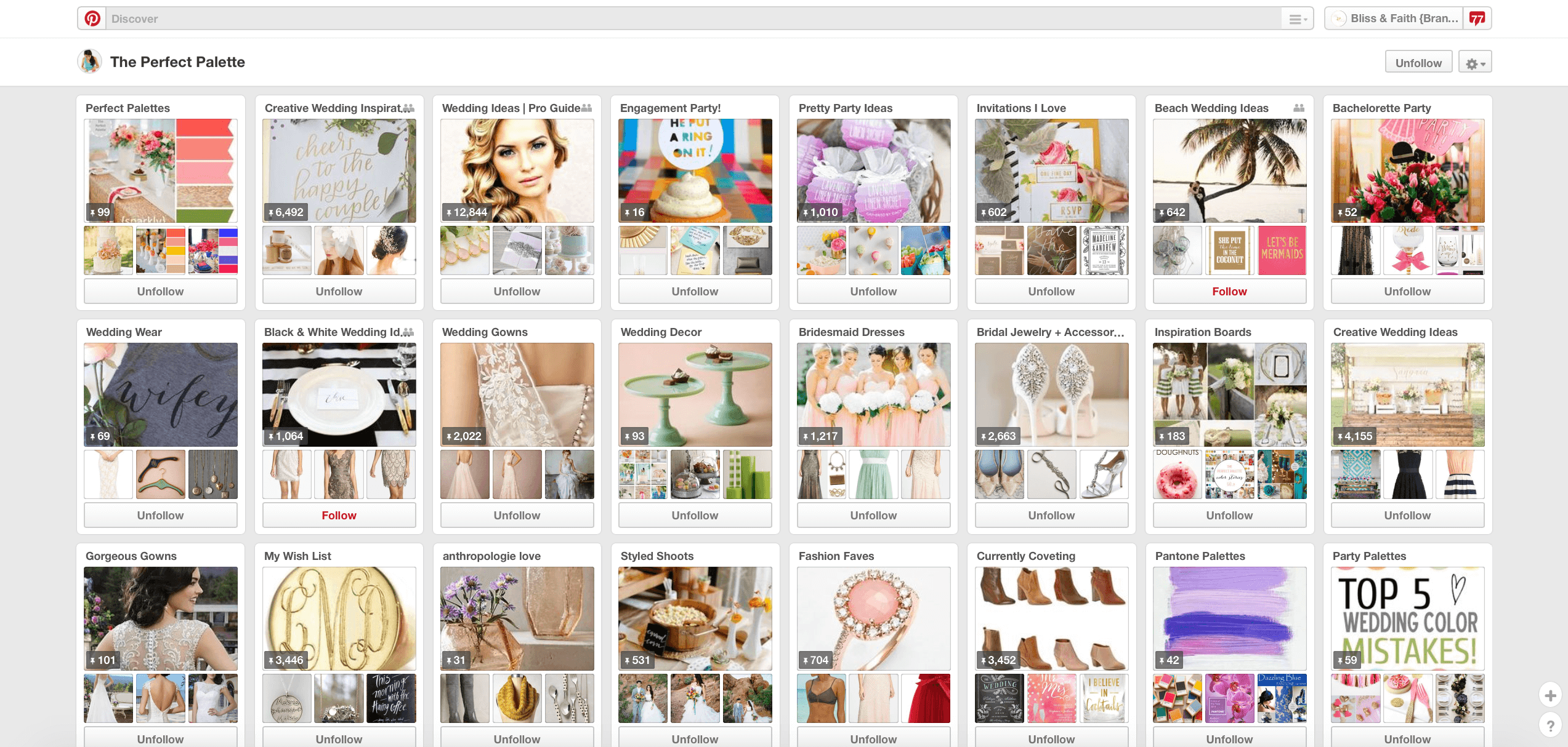 Pinterest boards from the PerfectPalette.com