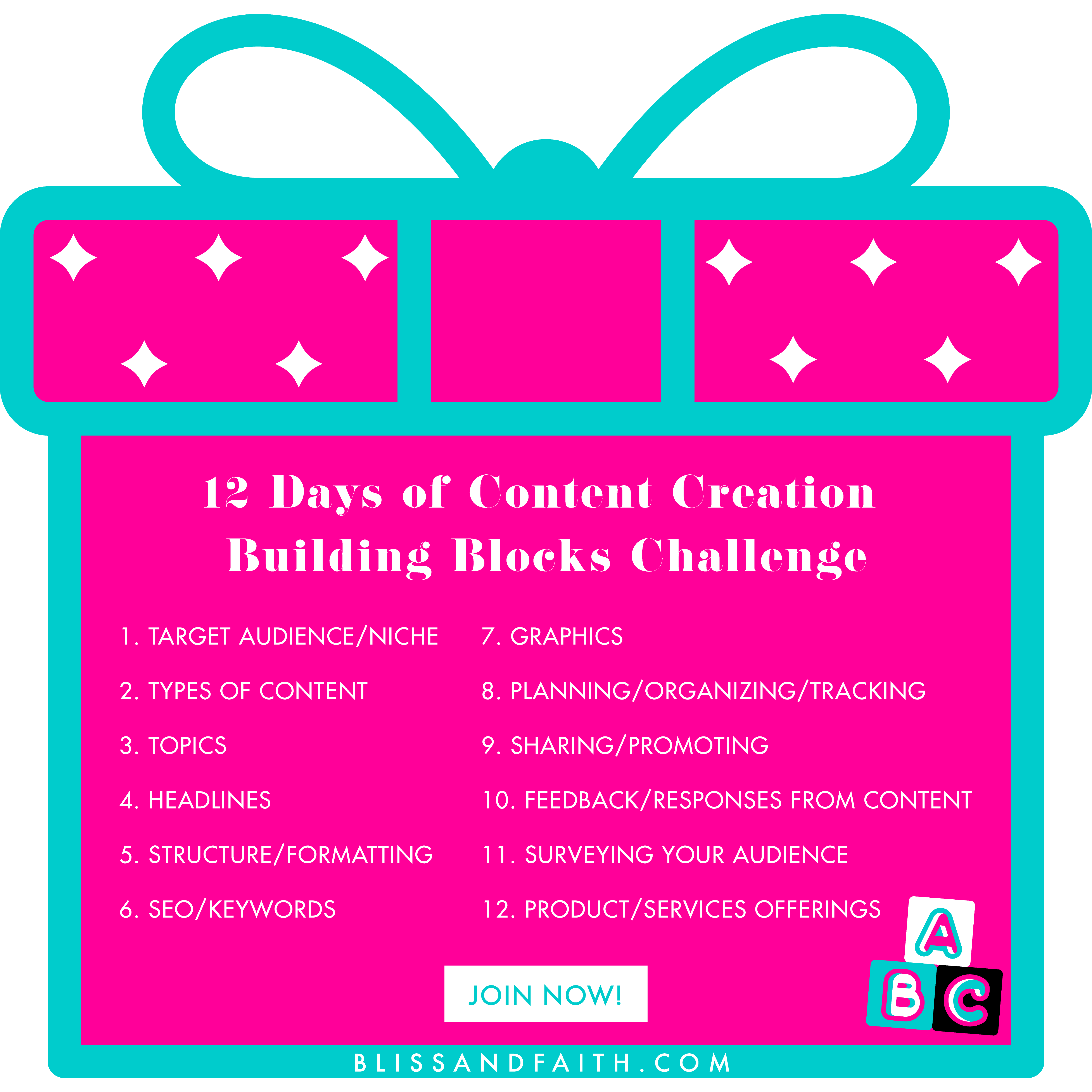 12 Days of Content Creation Building Blocks Challenge | BlissandFaith.com