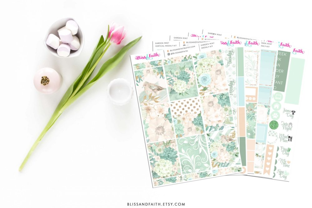 Bliss & Faith Design Boutique + Paperie | BlissandFaith.com/shop | Garden Mint Weekly Sticker Kit