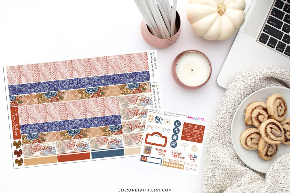 Autumn Vibes Weekly Sticker Kit | Shop.BlissandFaith.com