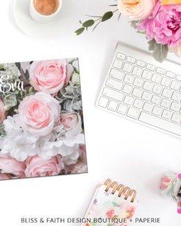 Blushed Roses Monogram Planner Cover | shop.blissandfaith.com