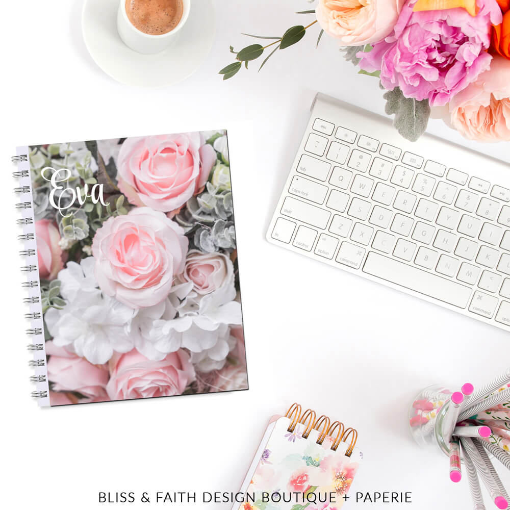 Blushed Roses Monogram Planner Cover   shop.blissandfaith.com