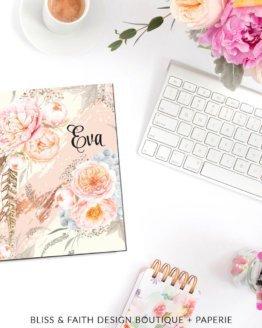 Sweet Peony Blush Monogram Planner Cover | shop.blissandfaith.com