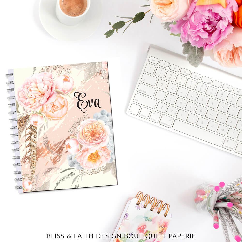 Sweet Peony Blush Monogram Planner Cover   shop.blissandfaith.com