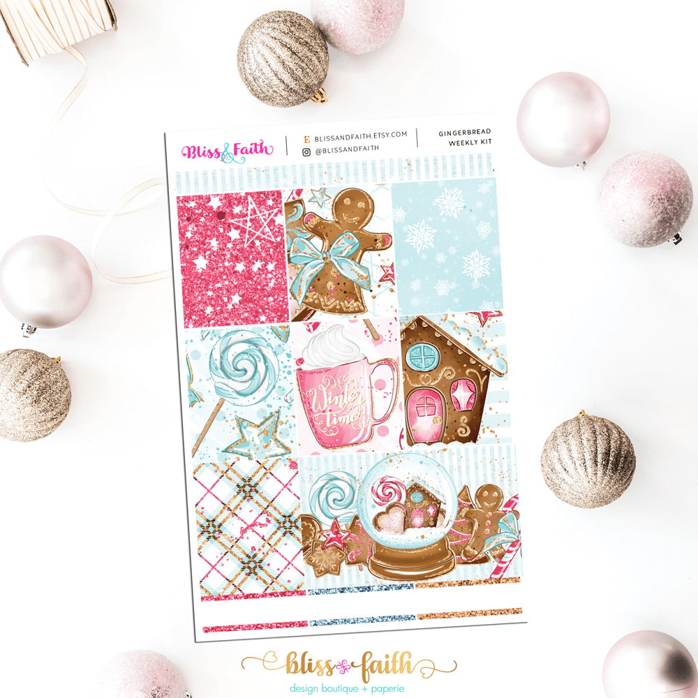 Gingerbread Weekly Sticker Kit | shop.blisandfaith.com