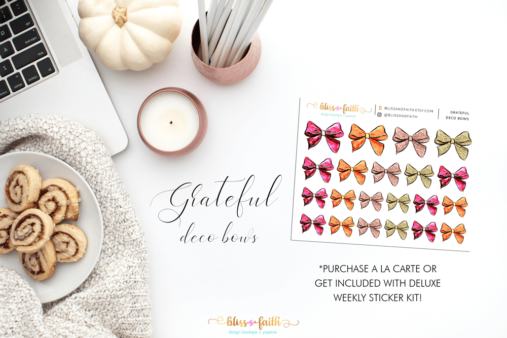 Grateful Deco Bow Stickers | shop.blisandfaith.com