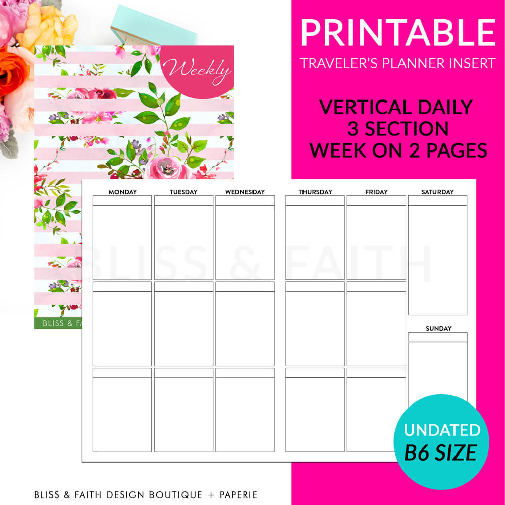 Printable B6 Vertical Daily 3 Section Week On 2 Pages Plan Traveler's Notebook Insert | shop.blissandfaith.com