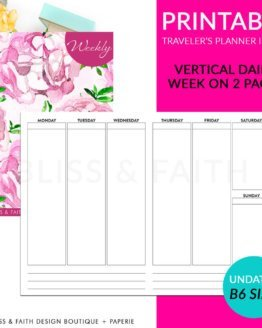 Printable B6 Vertical Daily Week On 2 Pages Plan Traveler's Notebook Insert | shop.blissandfaith.com