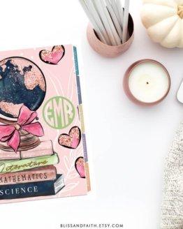 Monogram Back to School Globe Planner Cover | shop.blisandfaith.com