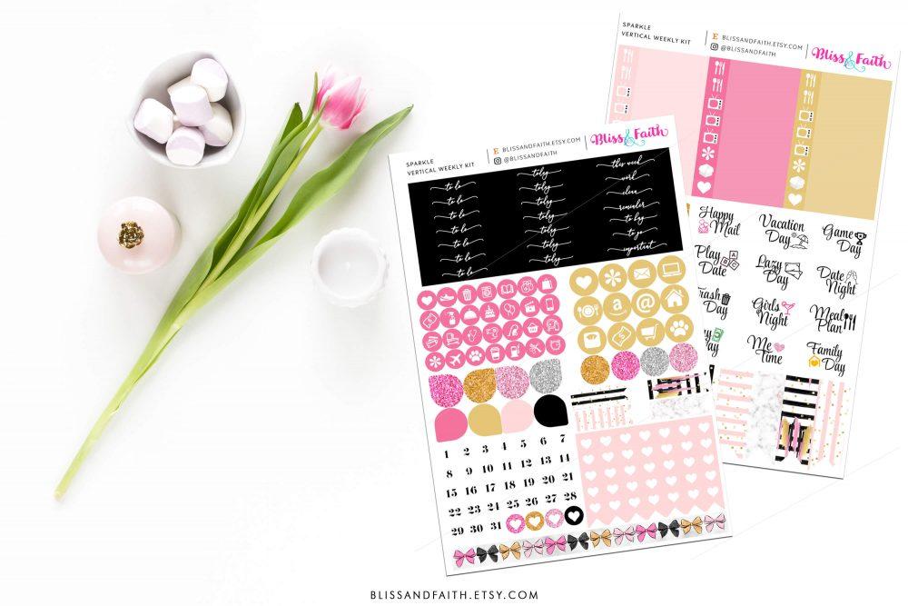 Sparkle Weekly Sticker Kit   shop.blisandfaith.com