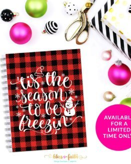 Buffalo Plaid Tis the Season Quote Planner Cover/Dashboard | shop.blissandfaith.com