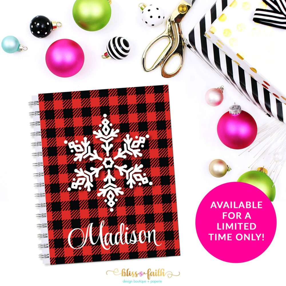 Buffalo Plaid Snowflake Monogram Planner Cover/Dashboard | shop.blissandfaith.com