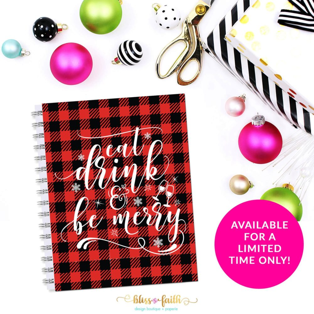 Buffalo Plaid Eat Drink and Be Merry Quote Planner Cover/Dashboard