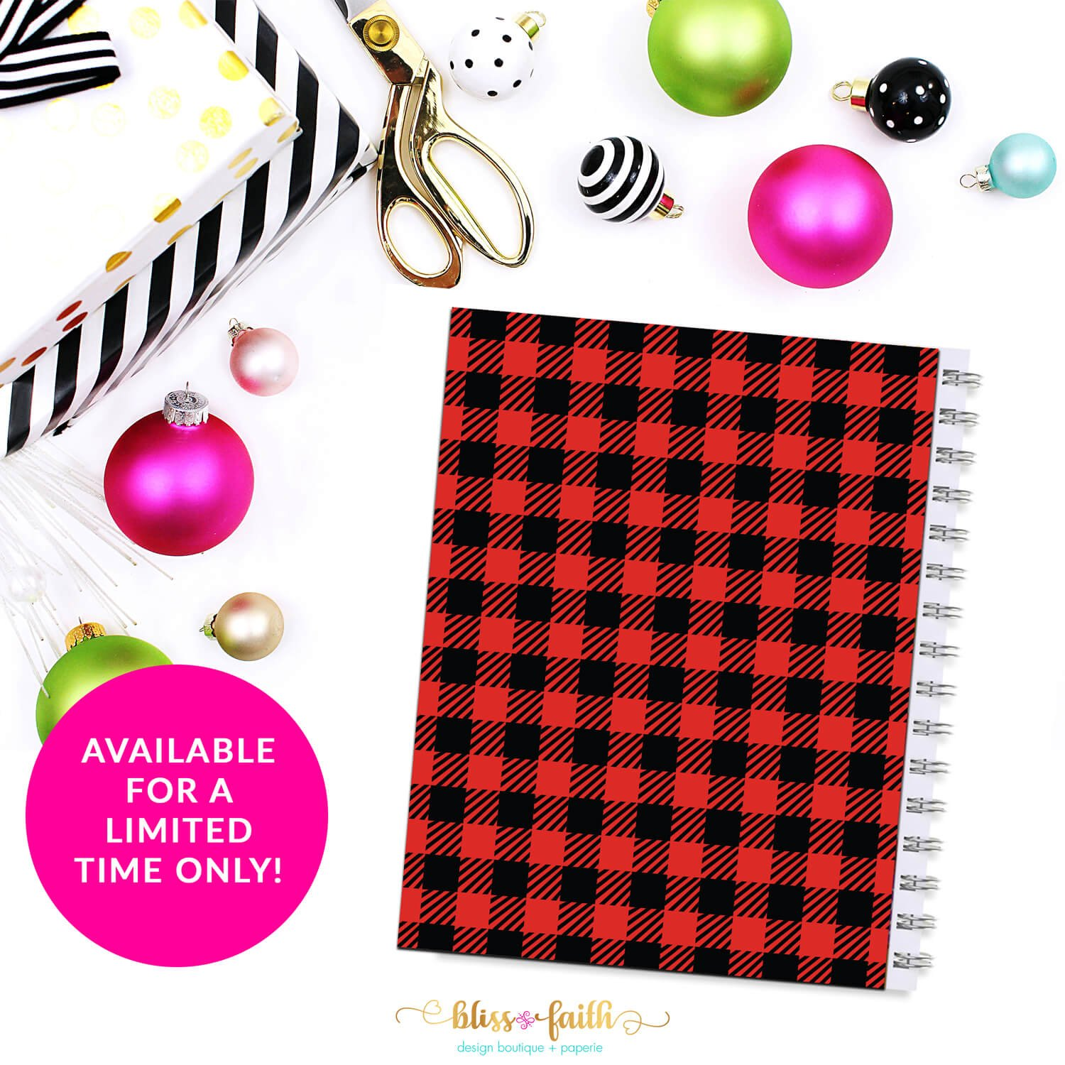 Buffalo Plaid Monogram Planner Cover/Dashboard | shop.blissandfaith.com