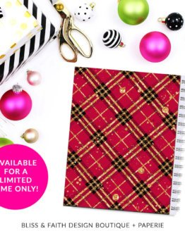 Red Black Gold Glitter Plaid Monogram Planner Cover/Dashboard | shop.blissandfaith.com