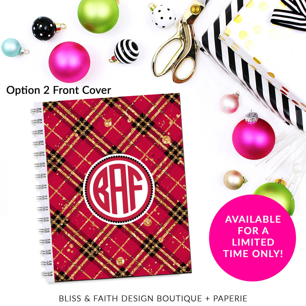 Red Black Gold Glitter Plaid Monogram Planner Cover/Dashboard | shop.blissandfaith.com