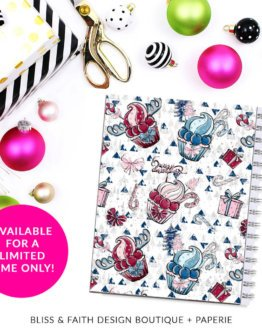 Ruby & Pink Christmas Tree Puppy Presents Planner Cover/Dashboard | shop.blissandfaith.com