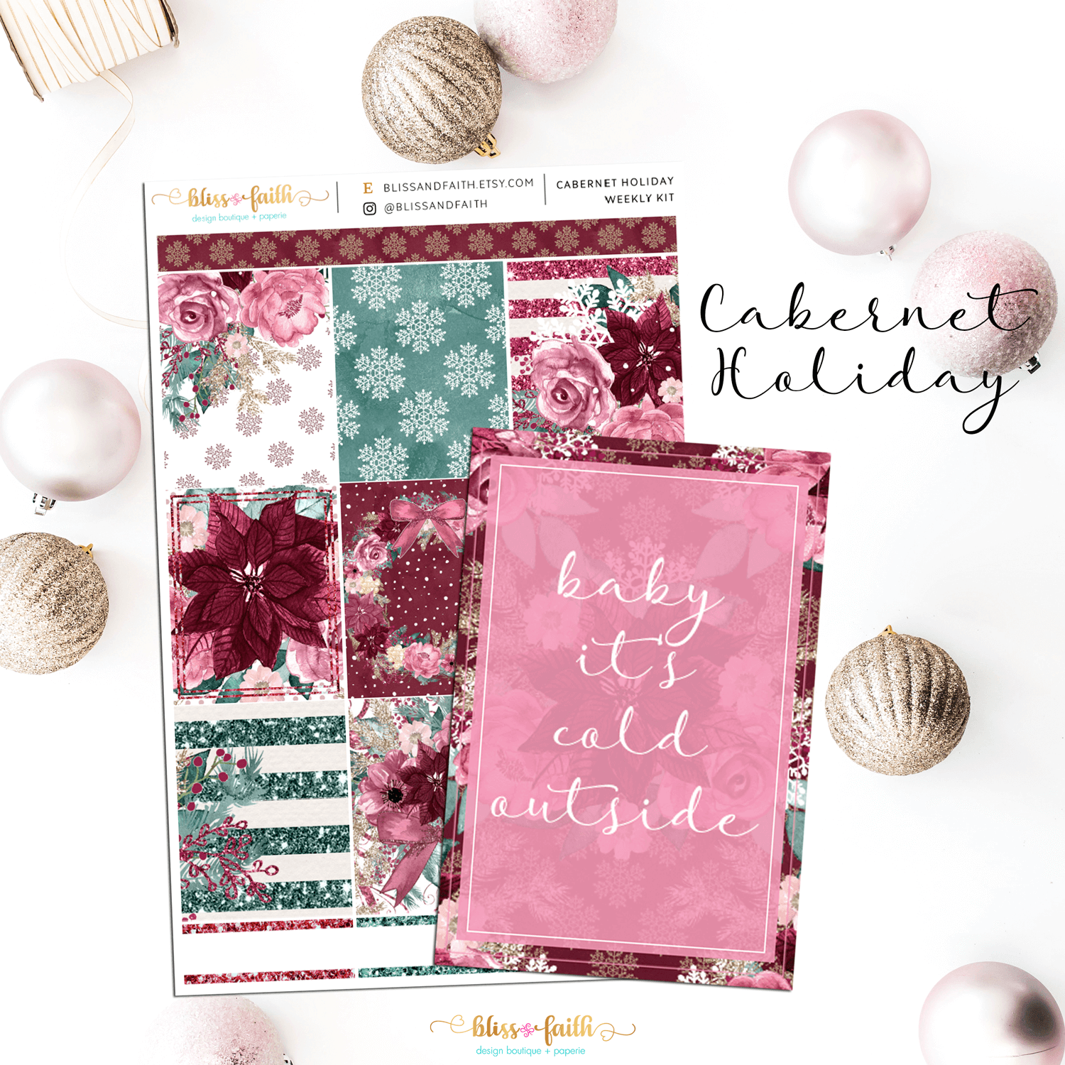 Cabernet Holiday Weekly Sticker Kit | shop.blissandfaith.com