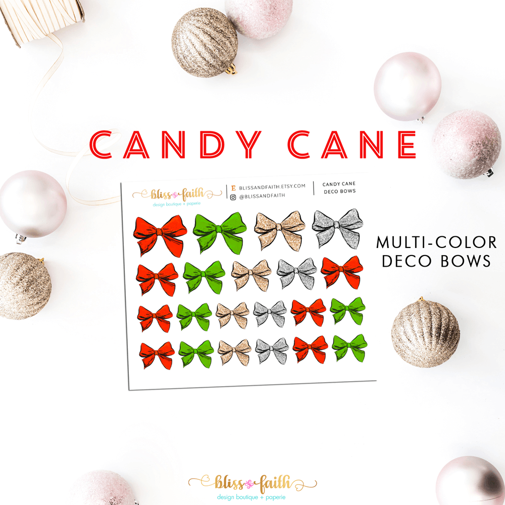 Candy Cane Deco Bow Stickers | shop.blissandfaith.com