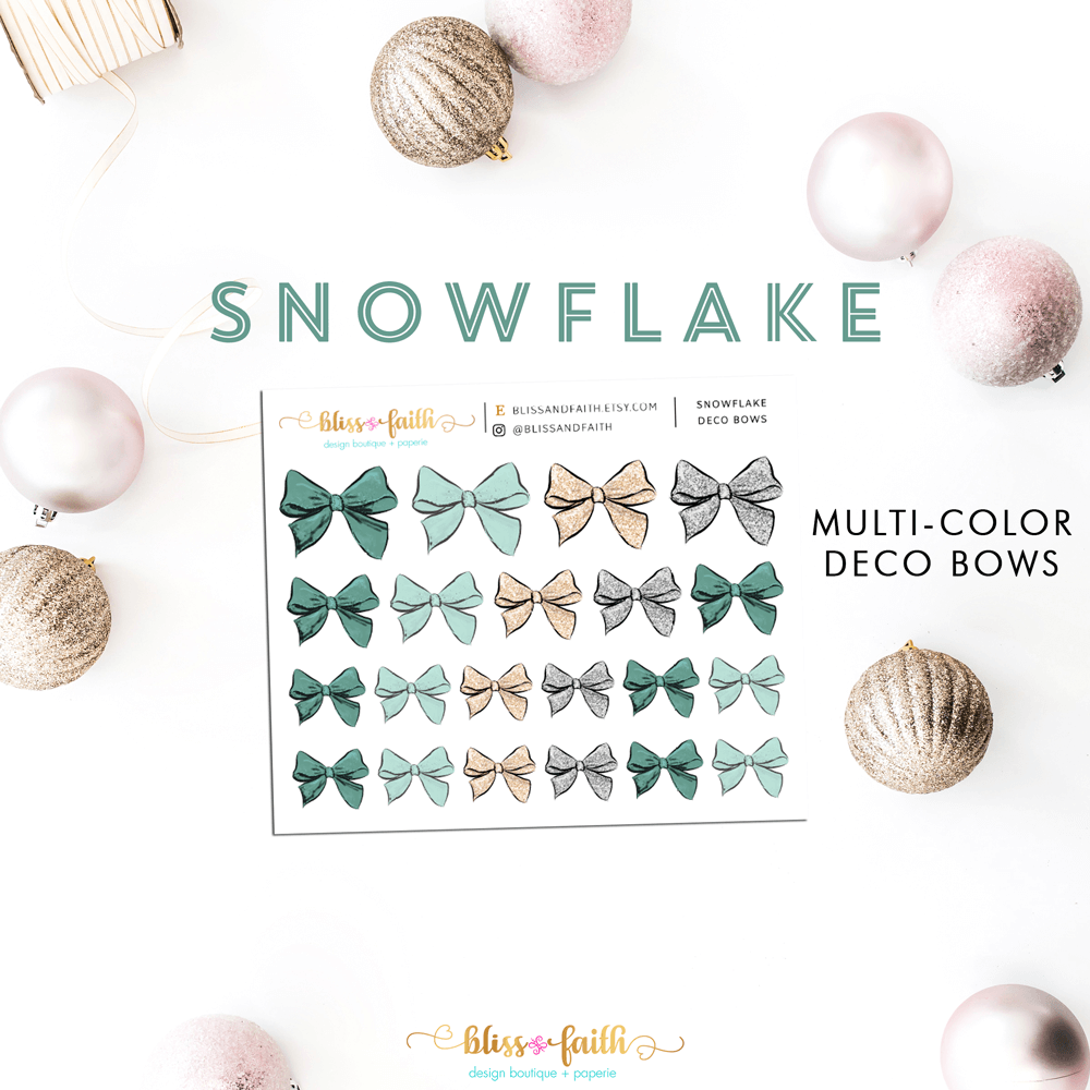 Snowflake Deco Bow Stickers | shop.blissandfaith.com