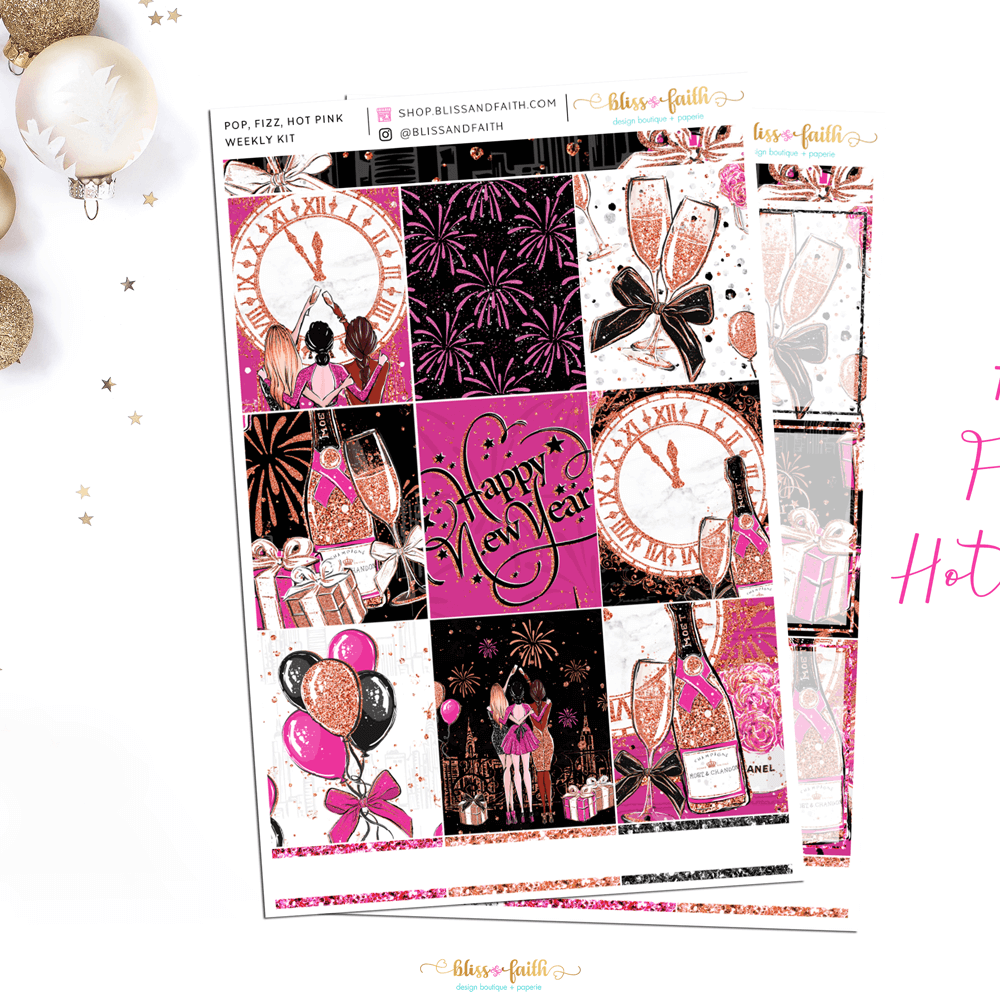 Pop, Fizz, Hot Pink Weekly Sticker Kit | shop.blissandfaith.com