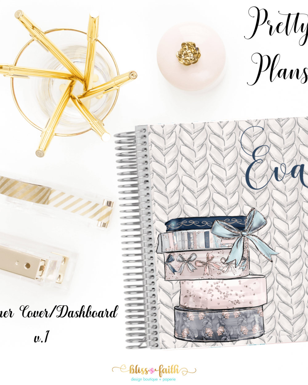 Pretty Plans Planner Cover/Dashboard | blissandfaith.com