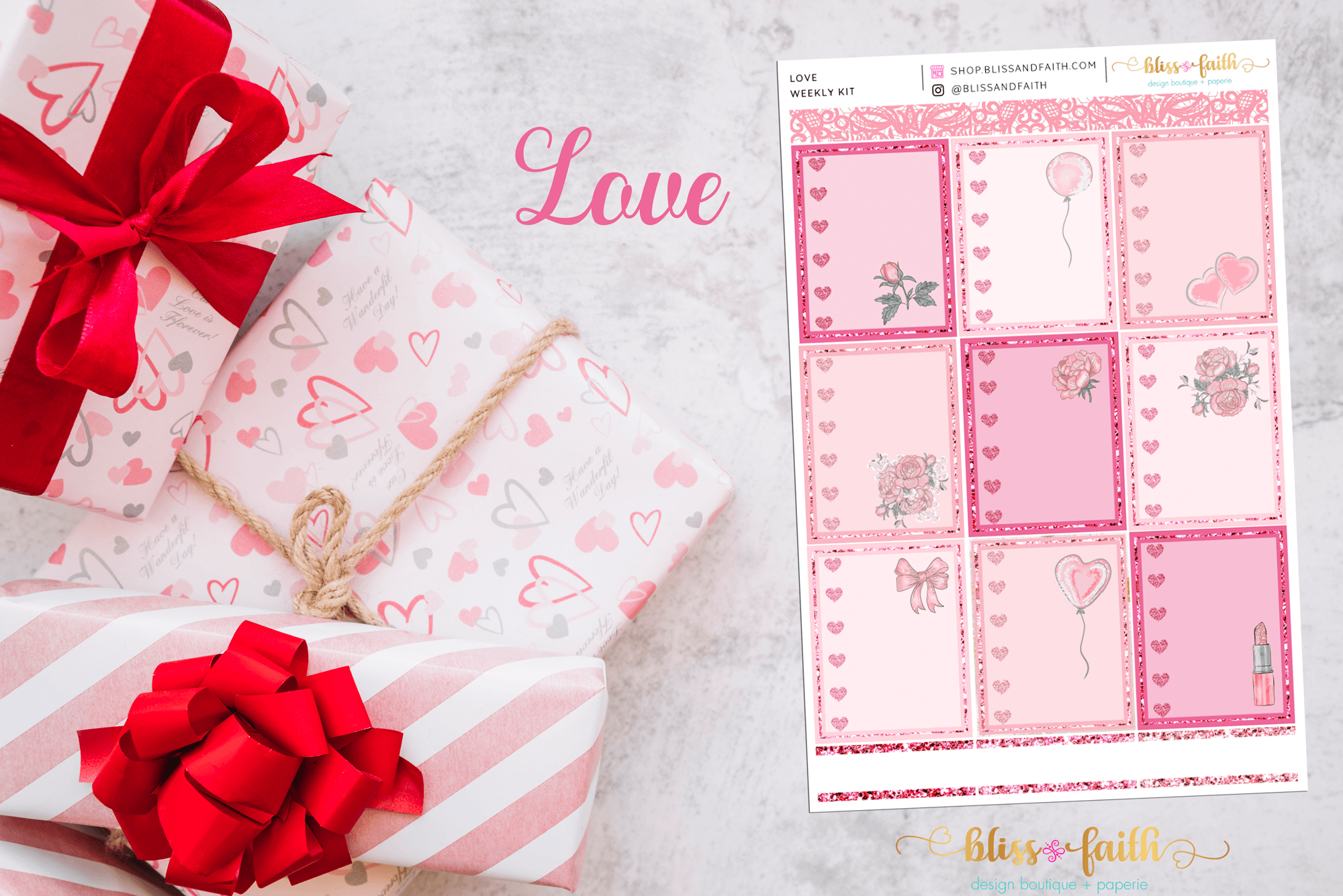 Love Weekly Sticker Kit | blissandfaith.com