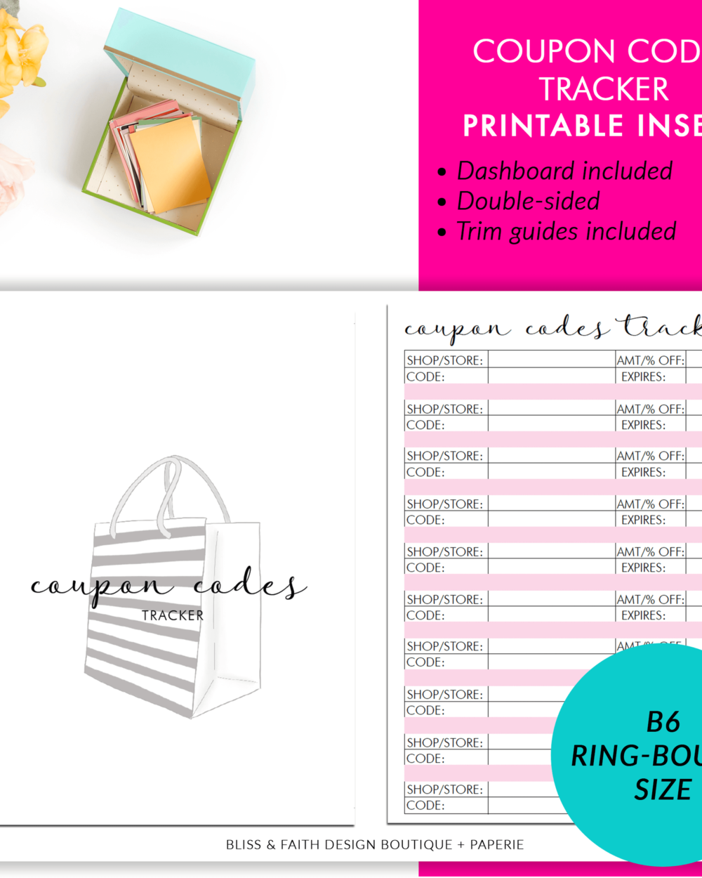 B6 Rings Coupon Codes Tracker Printable Planner Insert | BlissandFaith.com