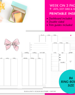 B6 Rings Week On 3 Pages + Lists Dot Grid and Notes Printable Planner Insert | BlissandFaith.com