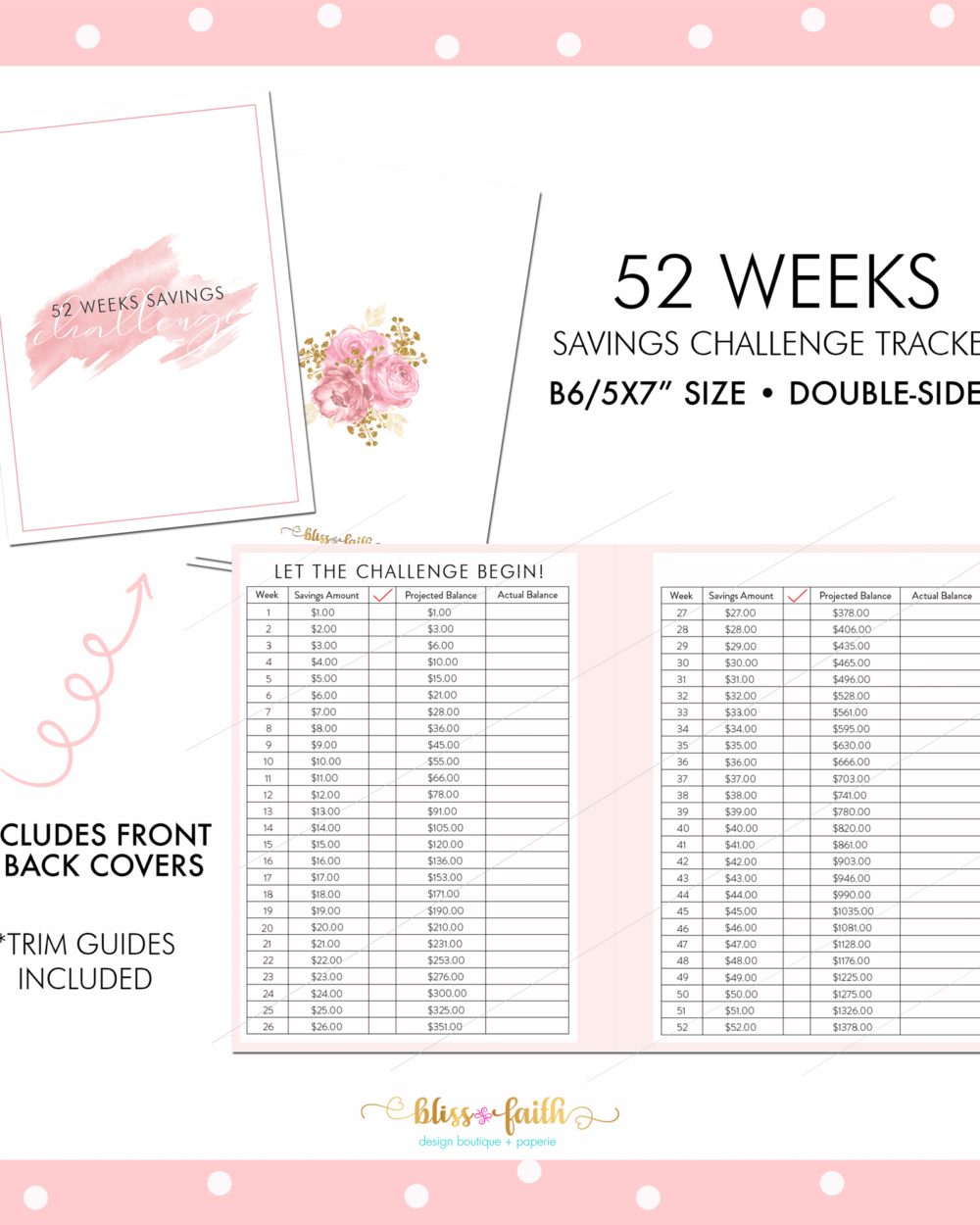 52 Weeks Savings Challenge Tracker B6 Printable | BlissandFaith.com