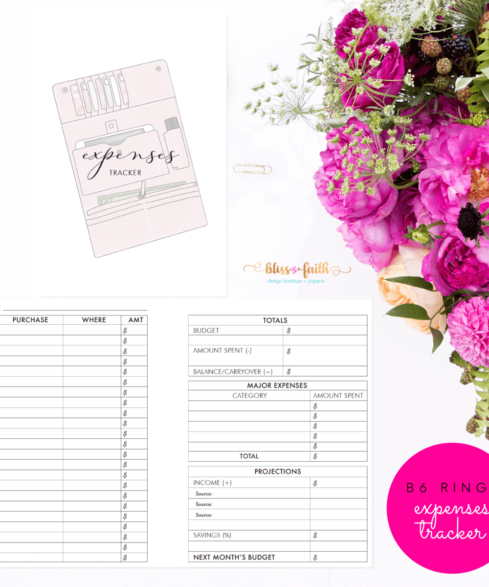 B6 Rings Expenses Tracker Printable Planner Insert | BlissandFaith.com