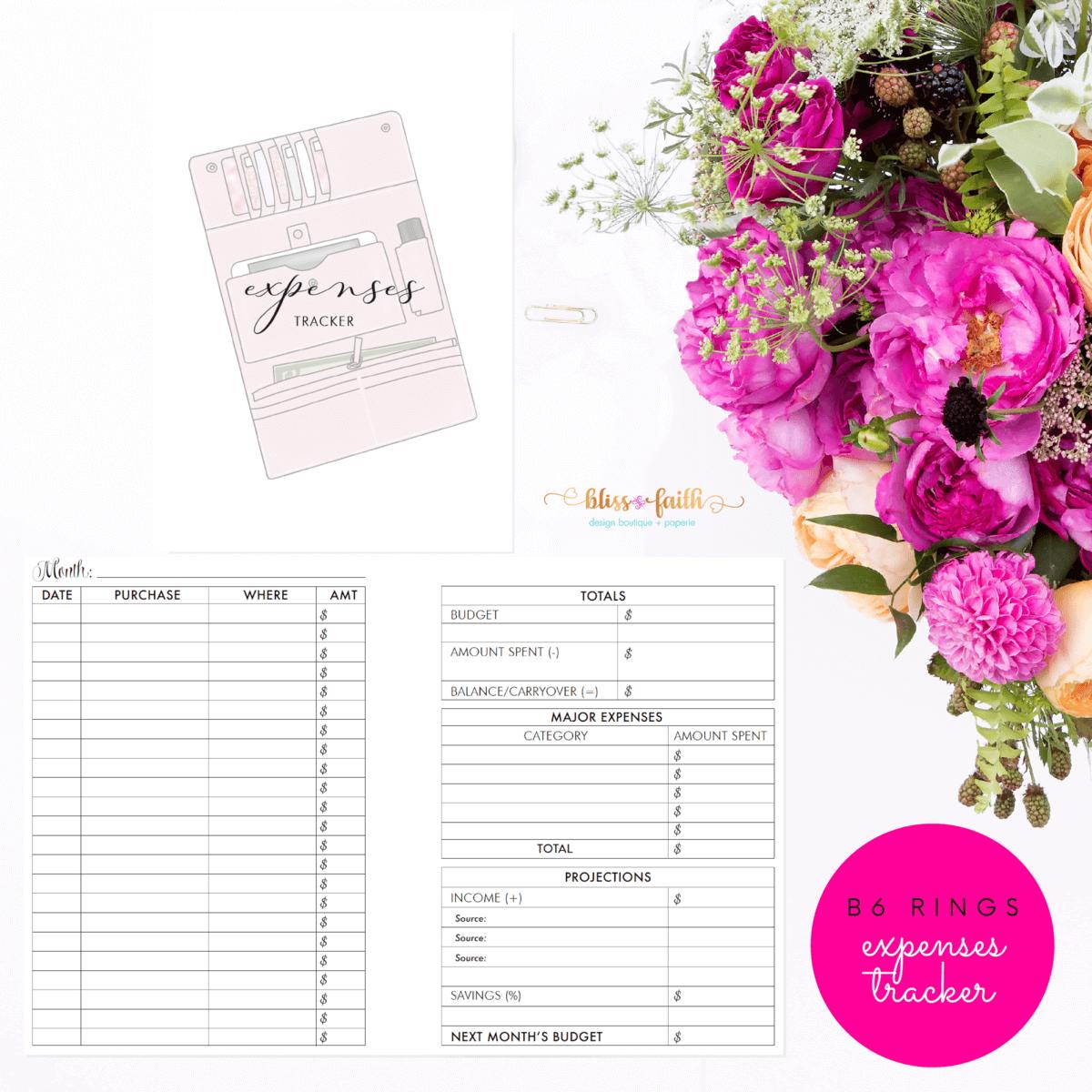 B6 Rings Expenses Tracker Printable Planner Insert | BlissandFaith.com