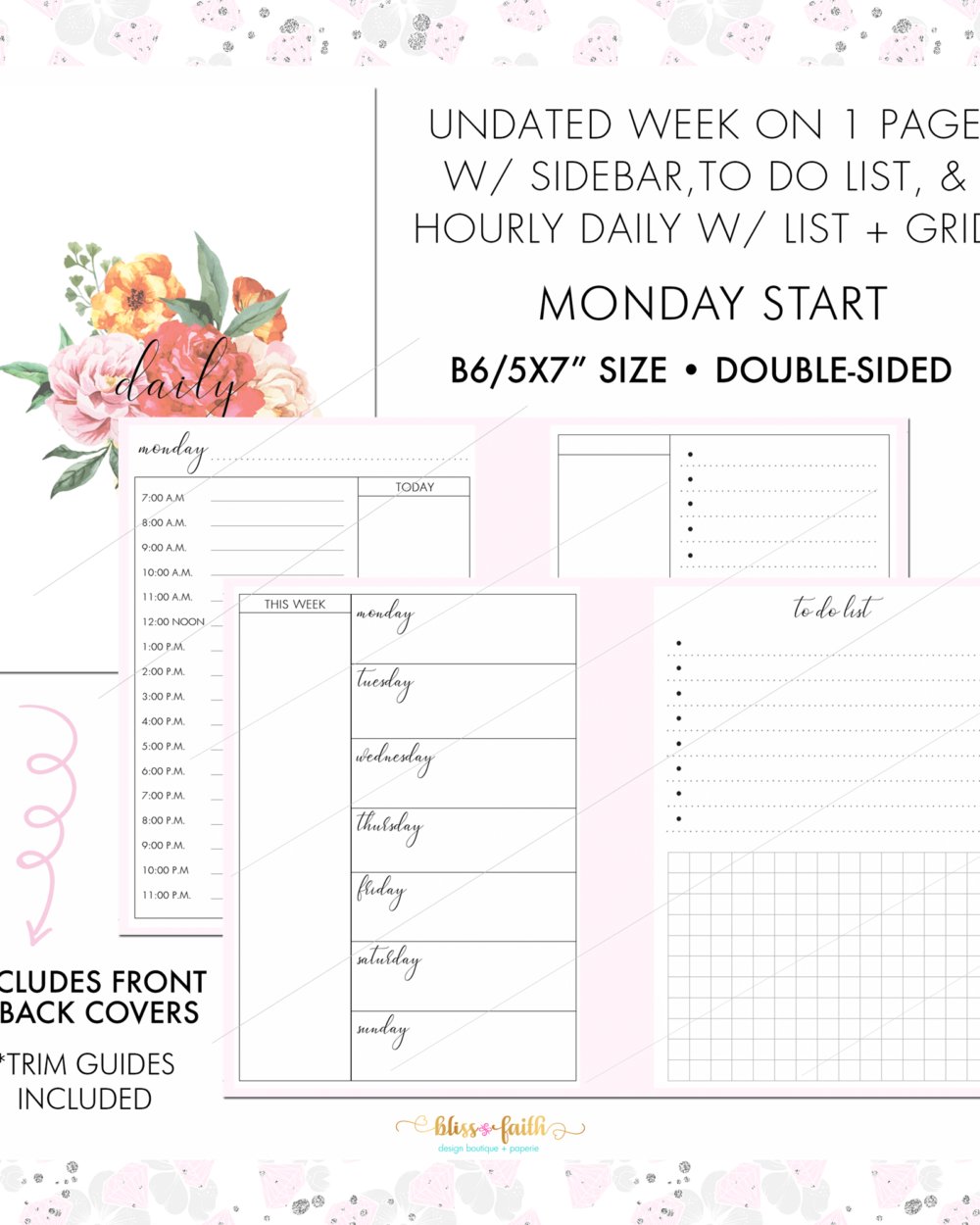 Horizontal WO1PG + Daily Grid List | BlissandFaith.com