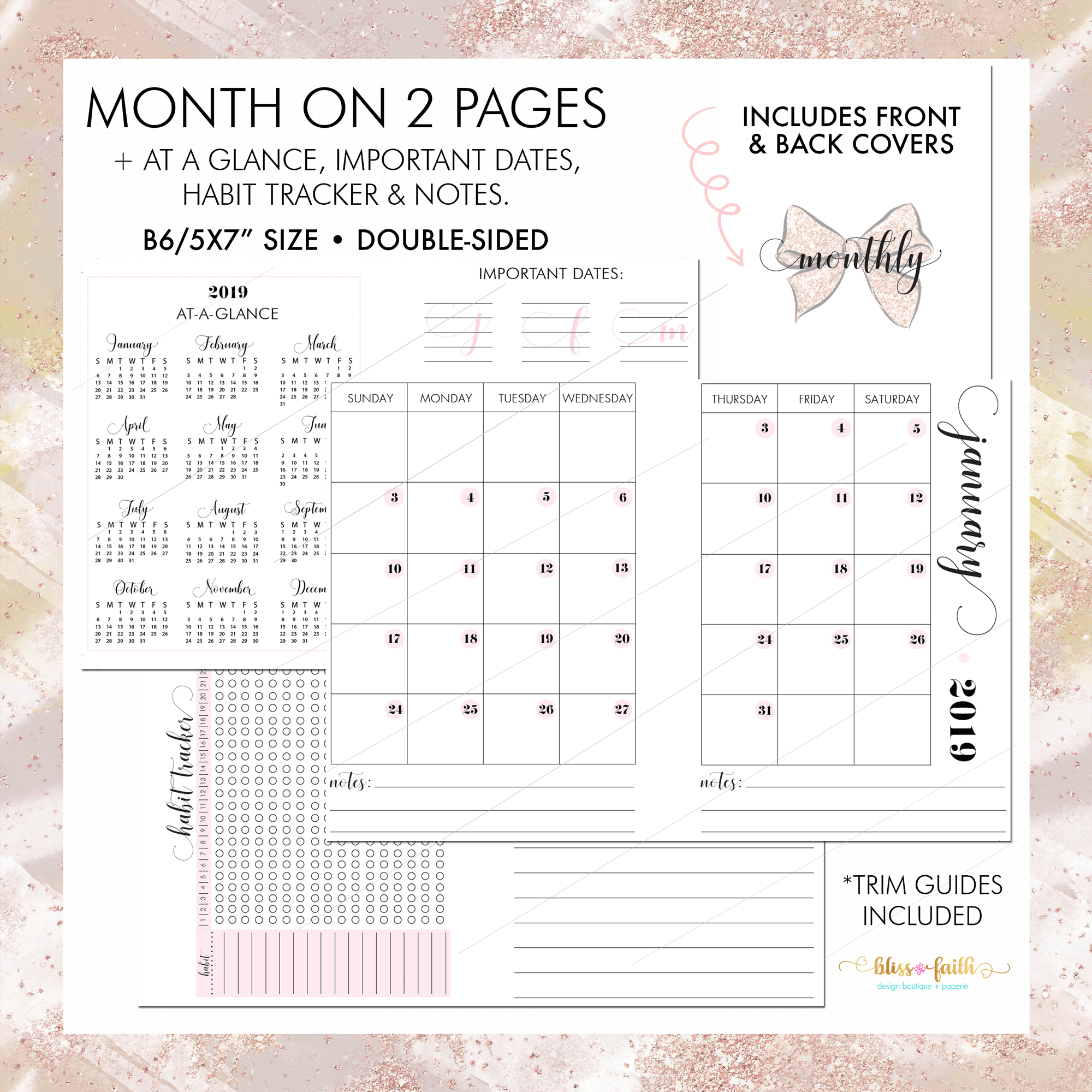 Month On 2 Pages + Habit Tracker, Notes, 2019 At A Glance & Important Dates B6 Rings Printable Insert | BlissandFaith.com