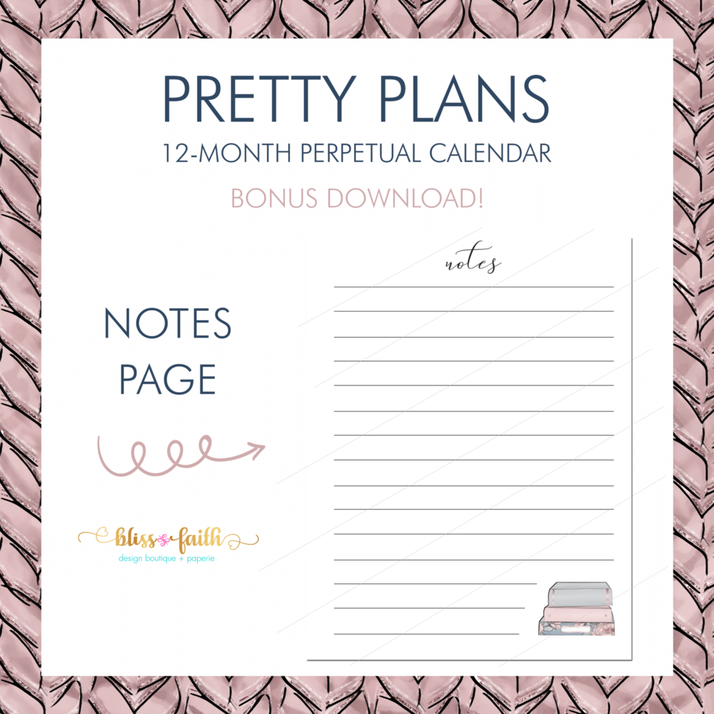Pretty Plans Perpetual Calendar Bonus Download | BlissandFaith.com