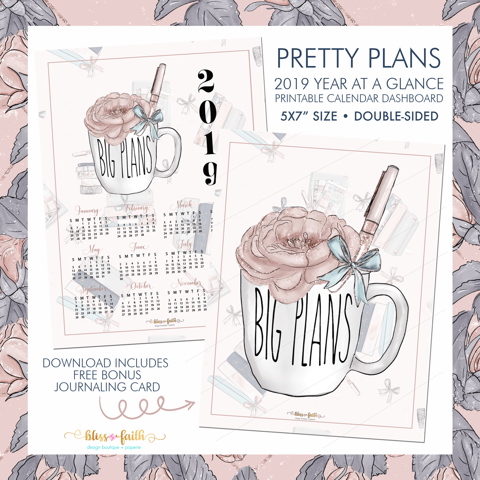 Pretty Plans Year At A Glance + Journaling Card | BlissandFaith.com
