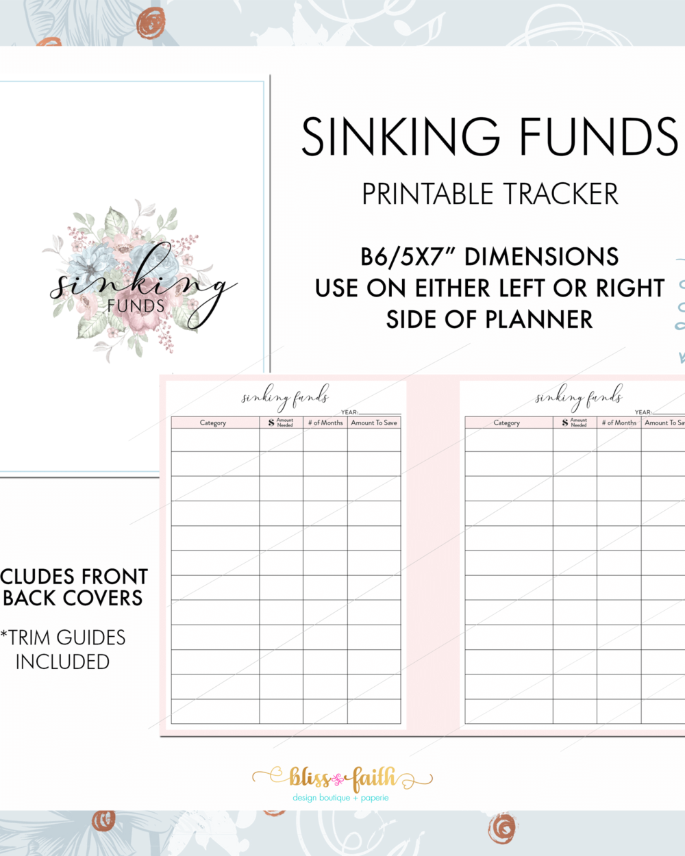 Sinking Funds Printable Tracker Printable Insert | BlissandFaith.com