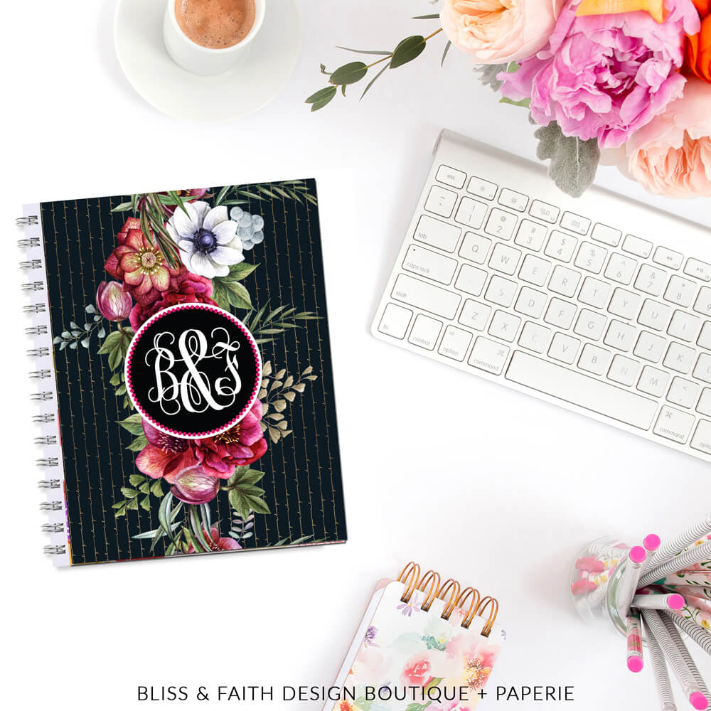 Botanical Love Gold Striped Monogram | BlissandFaith.com