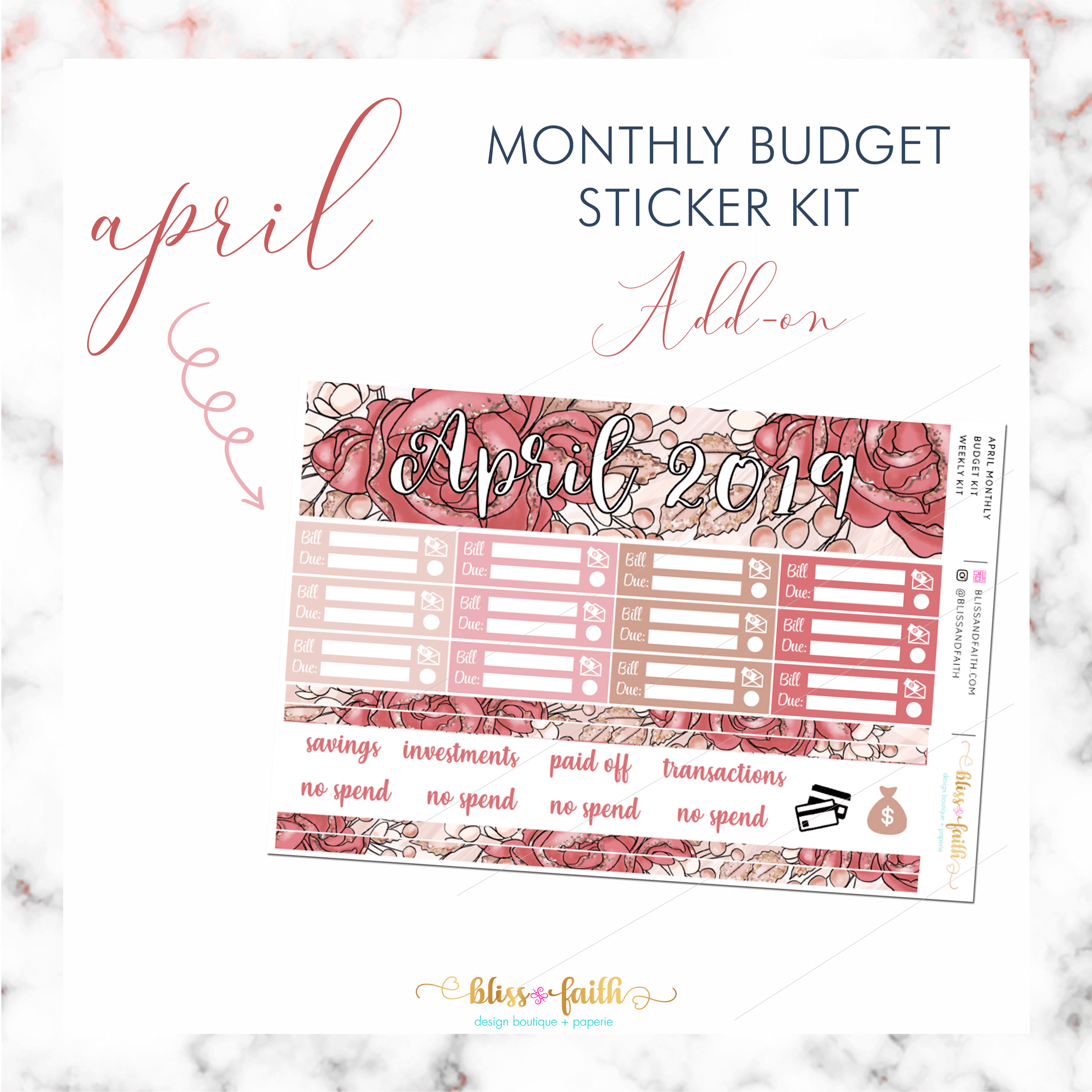 April Monthly Budget Sticker Kit Add-On | BlissandFaith.com