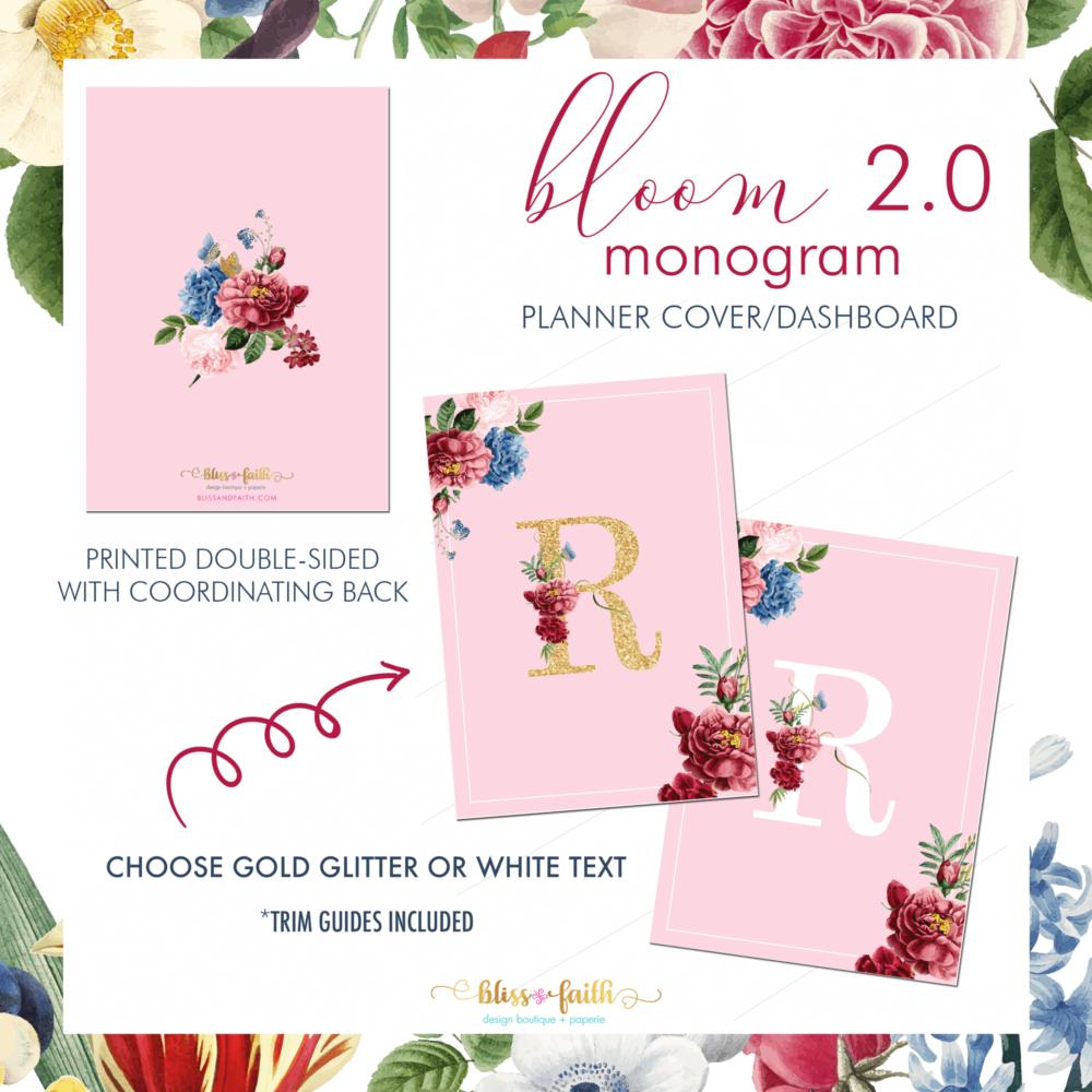 Bloom 2.0 Monogram Dashboard/Journaling Card | BlissandFaith.com