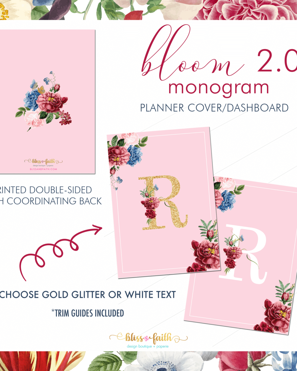 Bloom 2.0 Monogram Dashboard/Journaling Card | BlissandFaith.com