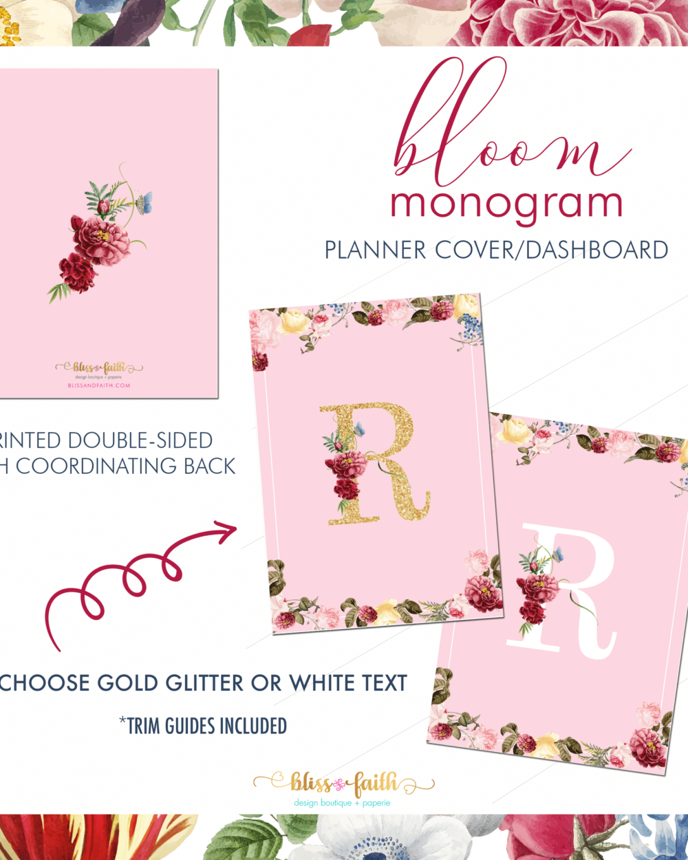 Bloom Monogram Dashboard/Journaling Card | BlissandFaith.com
