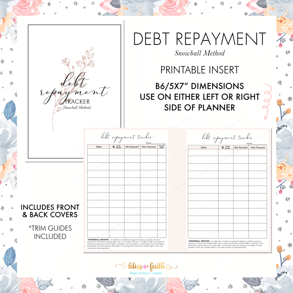Debt Repayment Snowball Method B6 Freebie | BlissandFaith.com