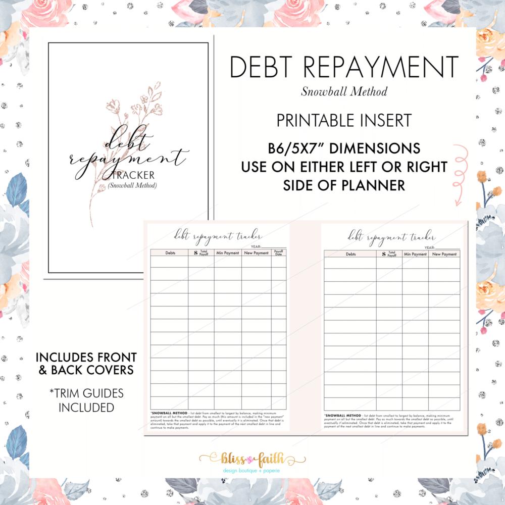Debt Repayment Snowball Method B6 Freebie   BlissandFaith.com