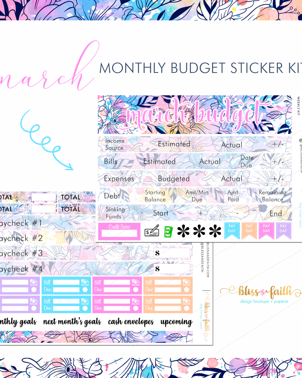 March Monthly Budget Sticker Kit | BlissandFaith.com