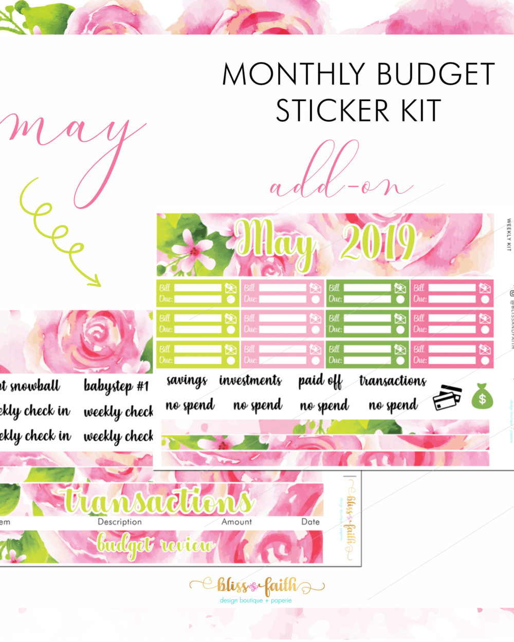 May Monthly Budget Sticker Kit Add-On | BlissandFaith.com