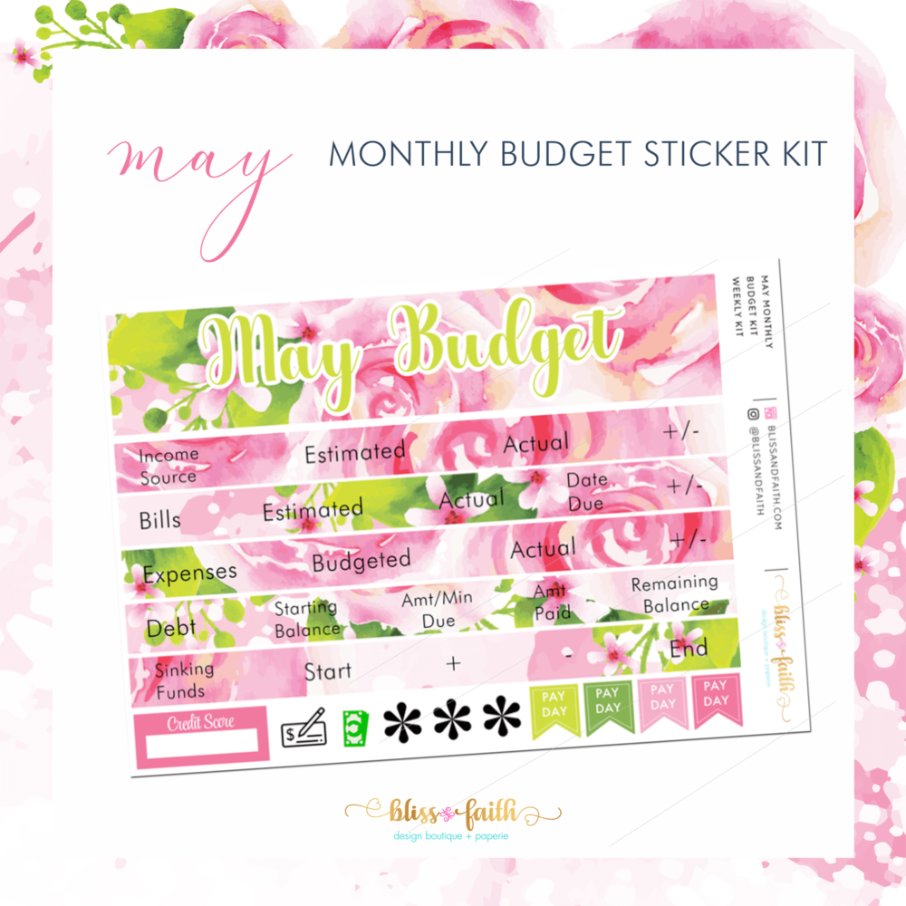 April Monthly Budget Sticker Kit | BlissandFaith.com