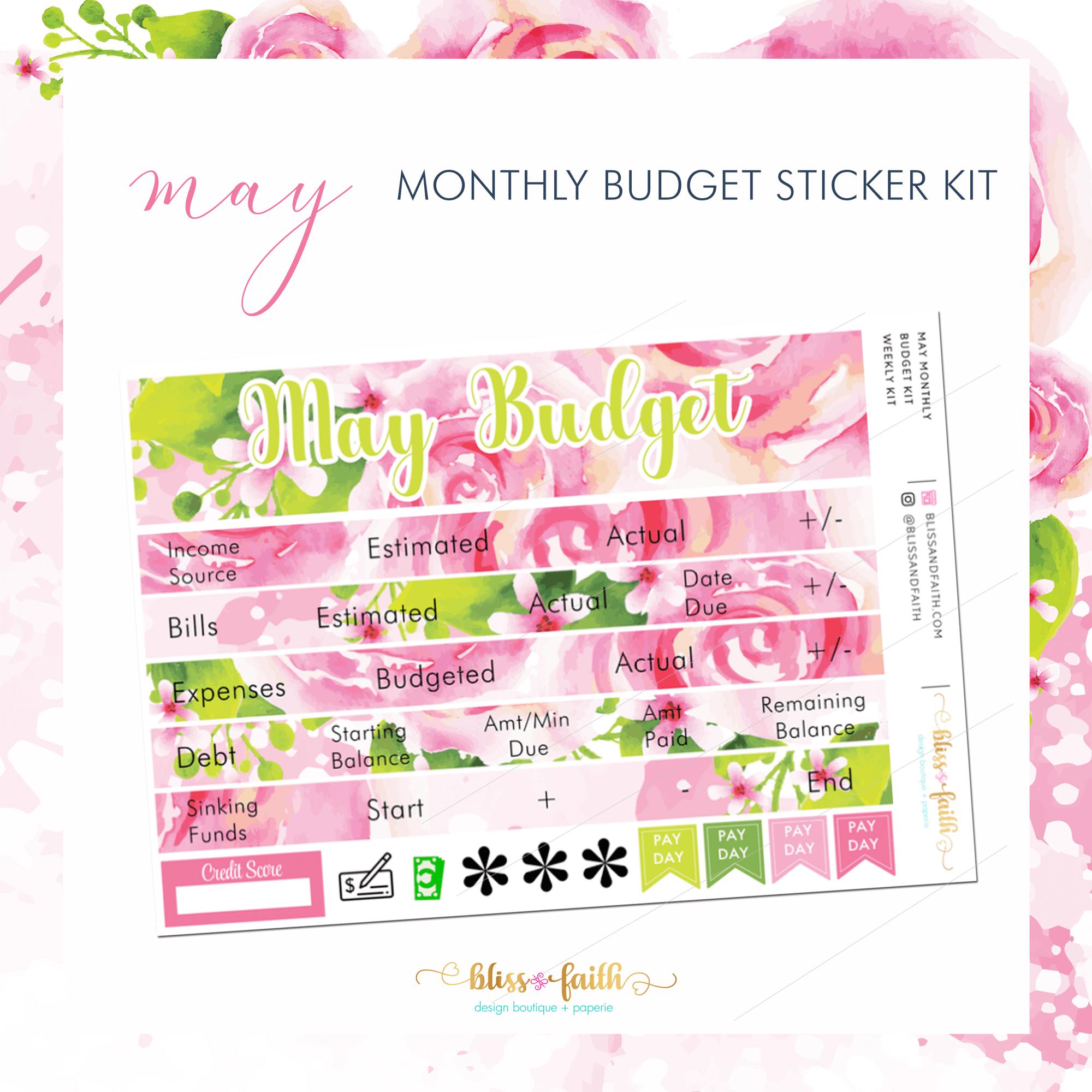 April Monthly Budget Sticker Kit | BlissandFaith.com